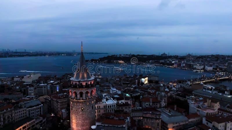 Foto urbana aérea da opinião da torre de Galata da arquitetura da cidade da skyline de Istambul foto de stock royalty free