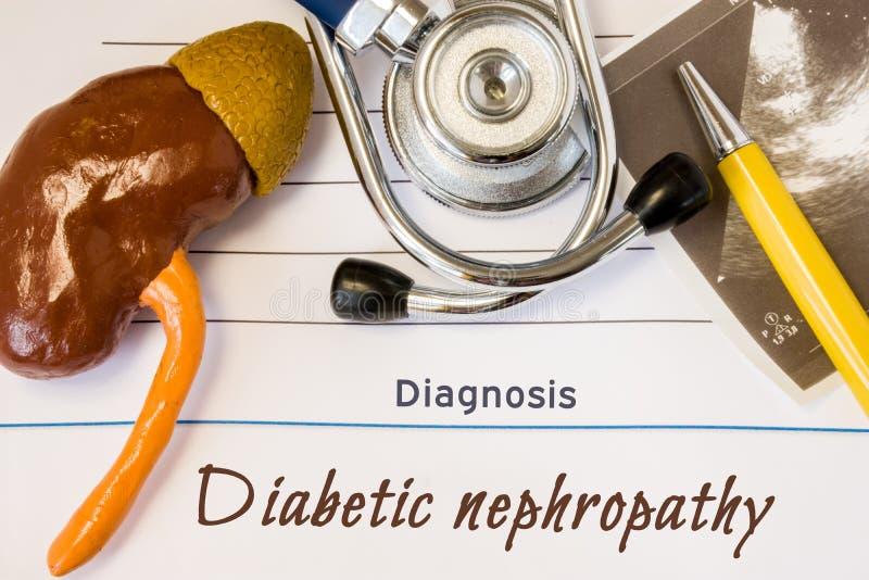 Foto van de diagnose de Diabetesnefropathie Het cijfer van nier ligt naast incription van diagnose van diabetesnefropathie, ultra stock afbeelding