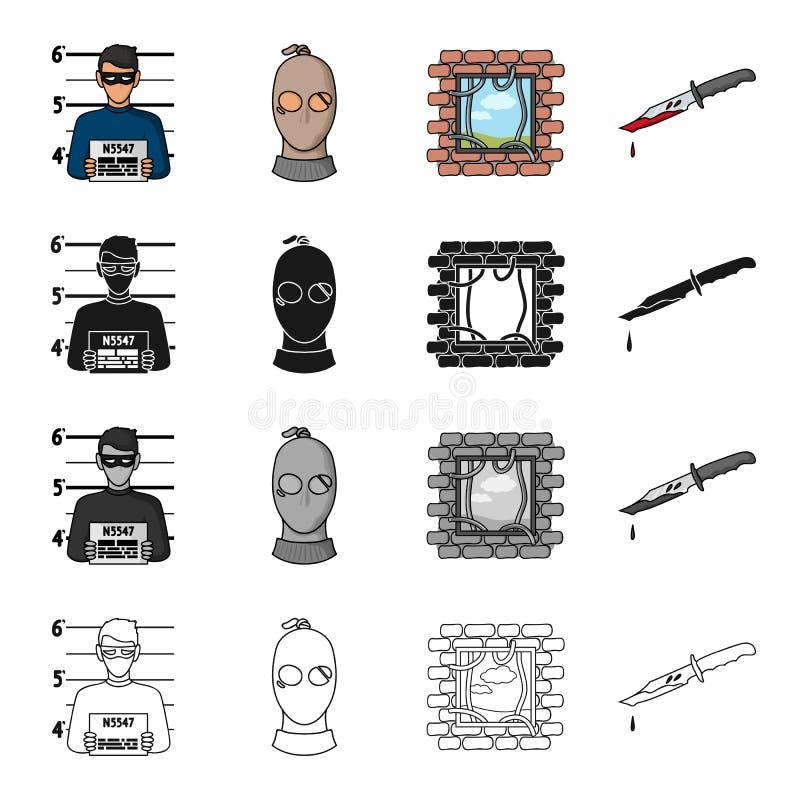 Foto van de misdadiger, een bandiet in een masker, ontsnapping uit de gevangenis, bloedig mes Pictogrammen van een misdaad de vas vector illustratie