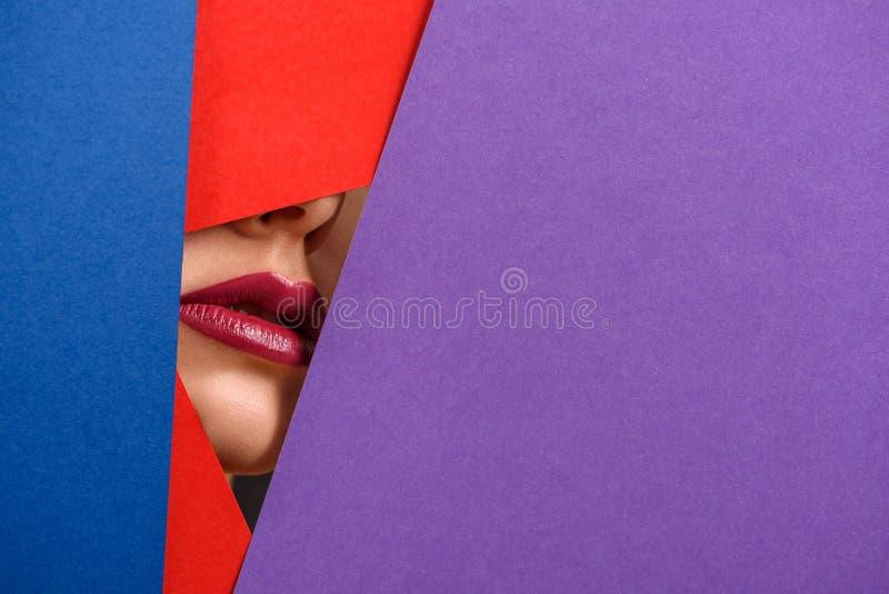 Foto van de modeldielippen van ` s door de bladen van het contrastkarton worden omringd stock foto's