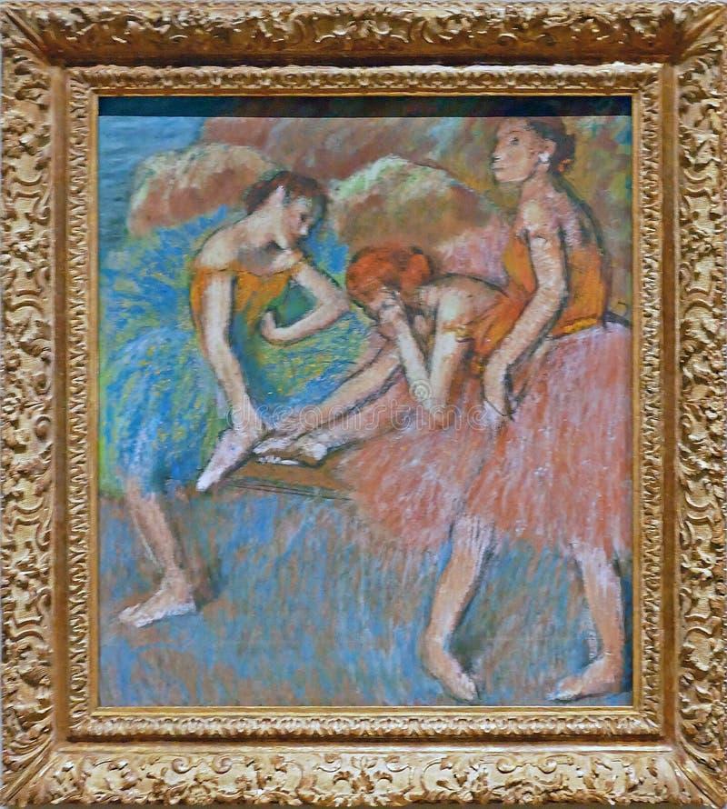 Foto van de originele schilderende `-Dansers onbeweeglijk ` door Edgar Degas stock afbeelding