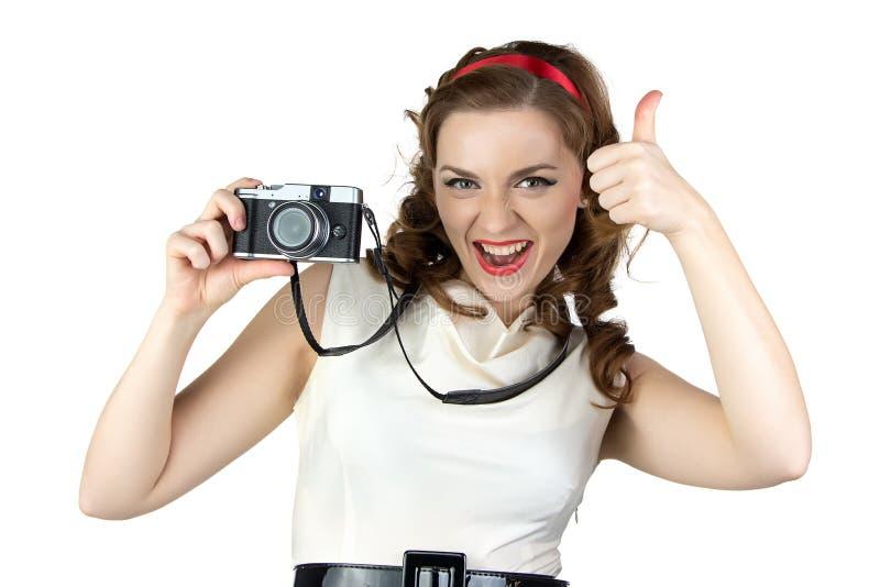Foto van de speld op vrouw met camera royalty-vrije stock foto's