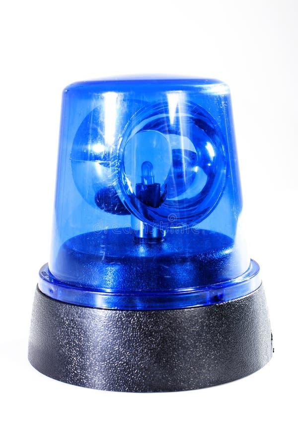 Foto van de de stroboscoopstudio van de politie de blauwe sirene Noodsituatie Lichtblauw, spinnend baken Gloeiende sirene voor au royalty-vrije stock fotografie