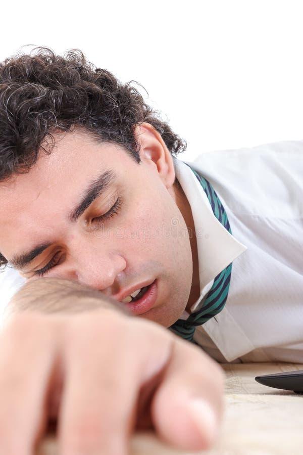 Foto van de uitgeputte, slaap en overwerkte bedrijfsmens royalty-vrije stock foto