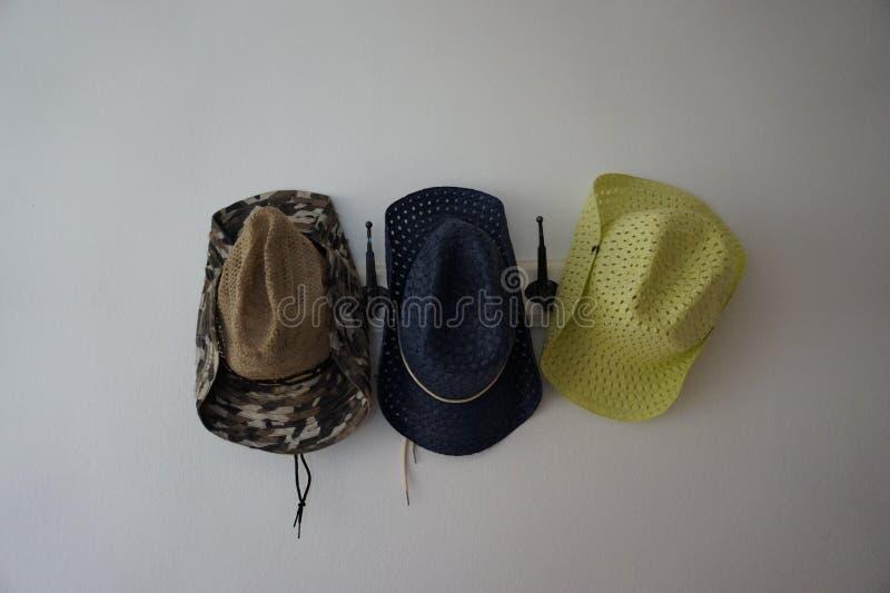 Foto van drie de zomerhoeden stock foto's