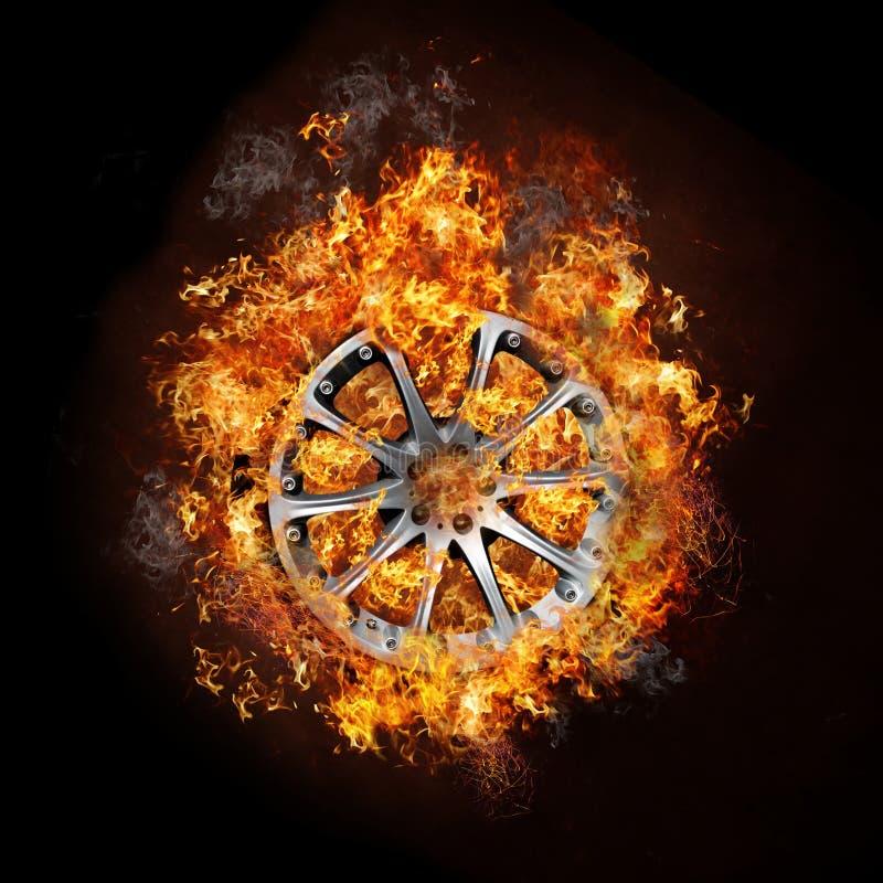 Foto van een autowiel bij het branden van brand vector illustratie