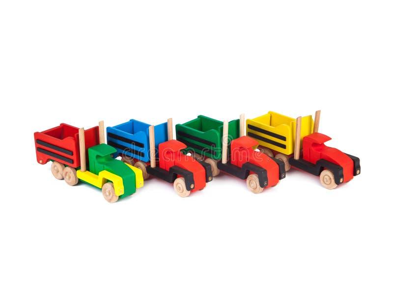 Foto van een houten stuk speelgoed vrachtwagen stock fotografie