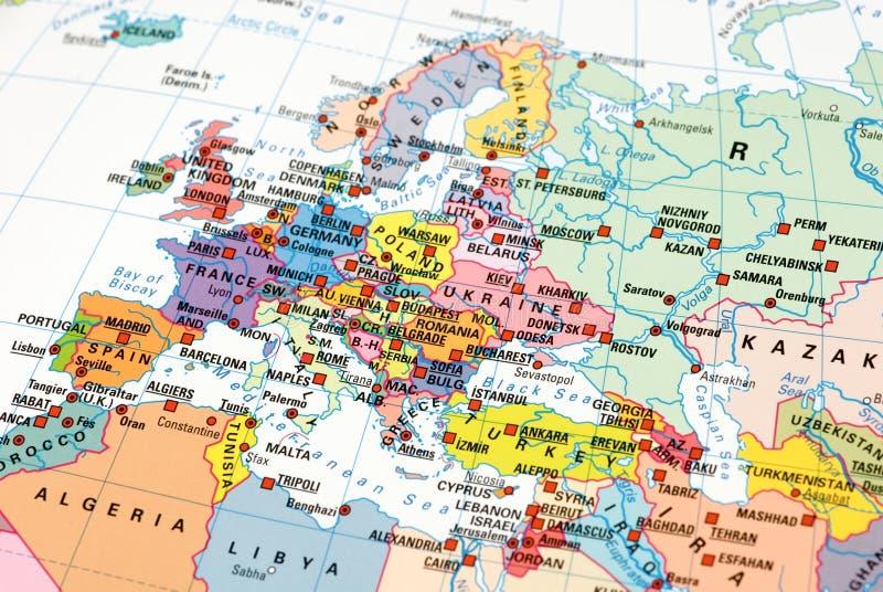 Foto van een kaart van Europa stock fotografie