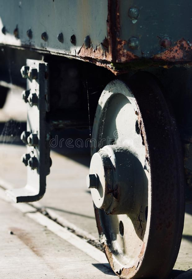Foto van een mooie oude metaalmuur van een trein royalty-vrije stock afbeeldingen