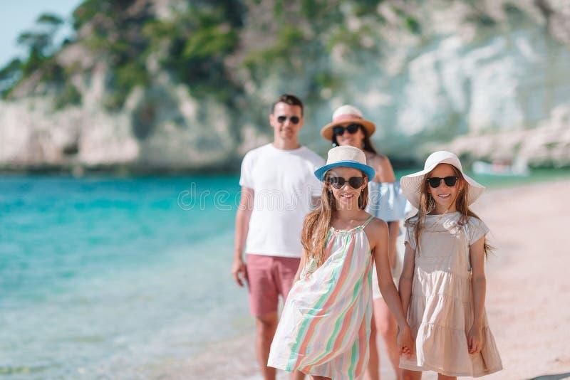 Foto van Gelukkige Familie die Pret op het Strand hebben De zomerlevensstijl stock foto's