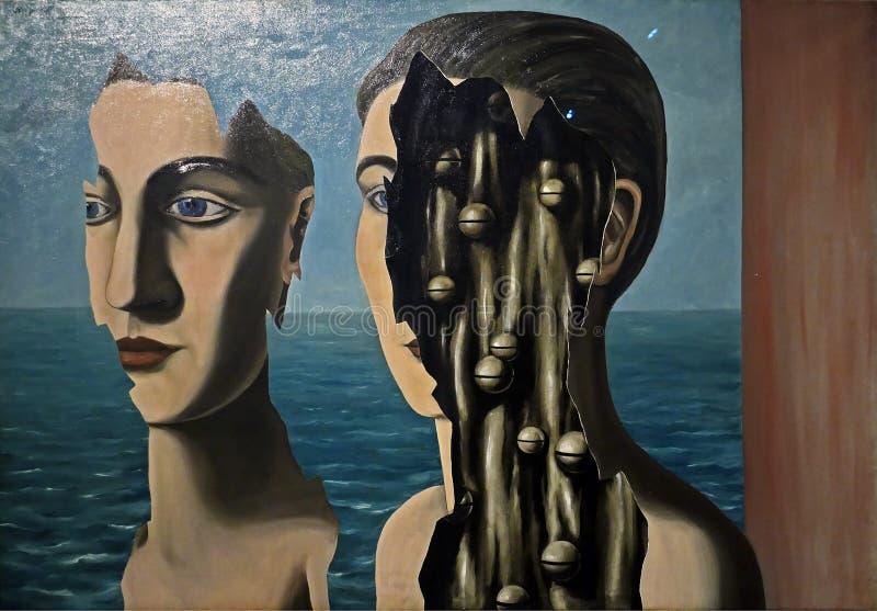 Foto van het originele schilderen: Het 'dubbele Geheim 'door Rene Magritte stock afbeeldingen