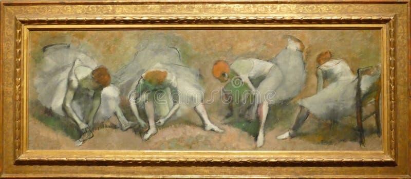 Foto van het originele schilderen door Edgar Degas: ` Fries van Dansers ` stock afbeelding