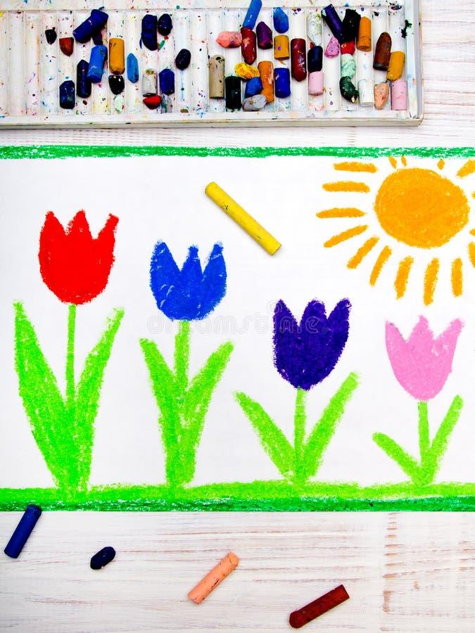 Foto van kleurrijke handtekening: mooie tulpenbloemen en zon stock illustratie