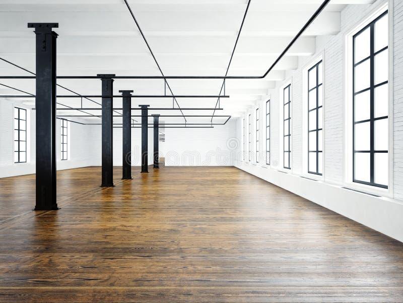 Foto van leeg museumbinnenland in de moderne bouw Open plekzolder Lege witte muren Houten vloer, zwarte grote stralen, royalty-vrije illustratie