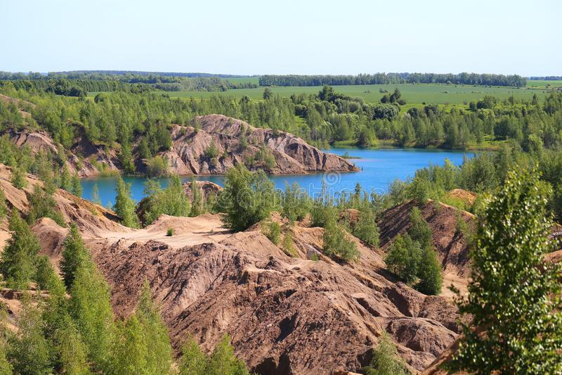 Foto van mooie blauwe meren in het gebied Rusland van Tula royalty-vrije stock foto