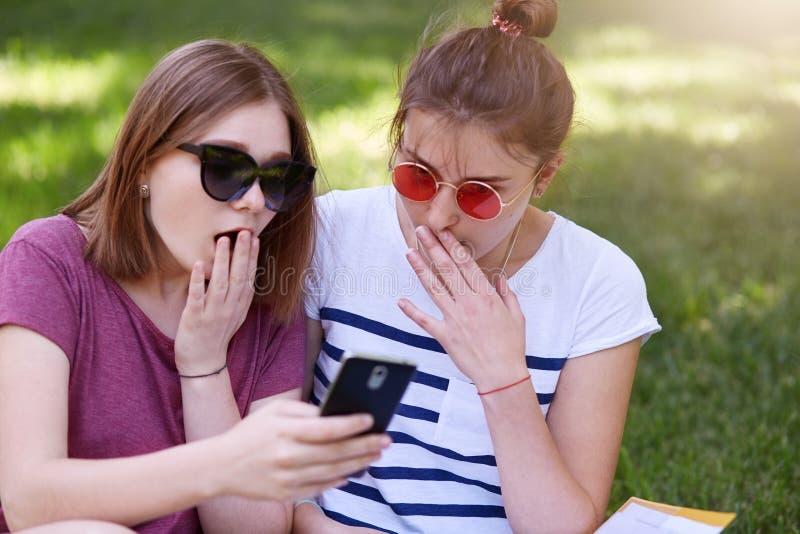 Foto van mooie geschokte meisjes, zusters die met verbaasde gelaatsuitdrukkingen, studenten in het park in openlucht op gras zitt royalty-vrije stock fotografie