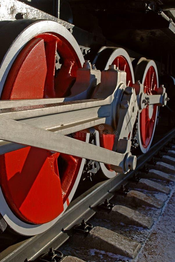 Foto van treinwielen stock afbeelding