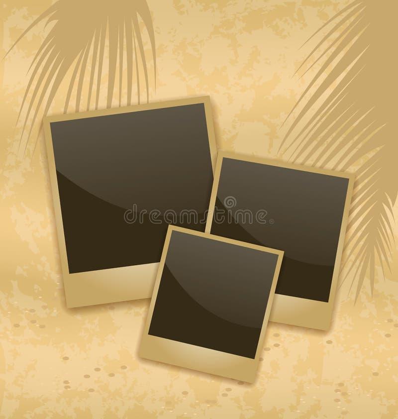 A foto vazia do estilo antigo carda o encontro em uma areia do mar ilustração do vetor