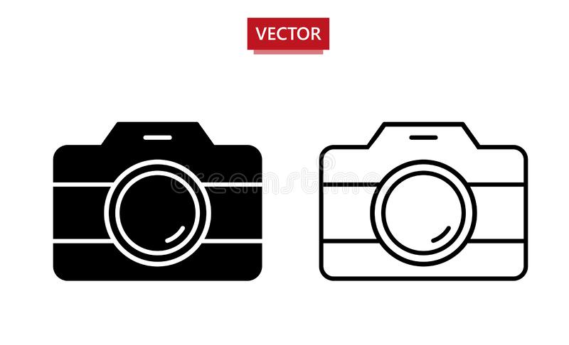 Foto vectorpictogram Reeks van 2 verschillende ontwerppictogrammen - overzicht en gevuld Vector illustratie die op witte achtergr royalty-vrije illustratie