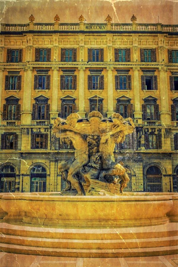 Foto velha com dei Tritoni de Fontana, Trieste, Itália foto de stock royalty free