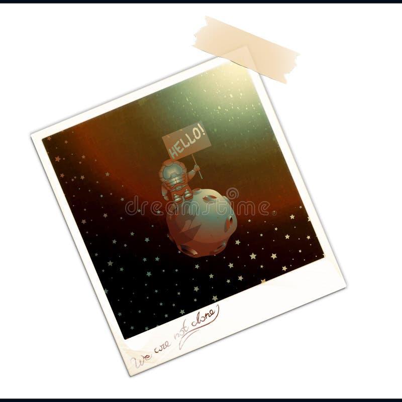 Foto velha com primeiro contato extraterrestre ilustração do vetor
