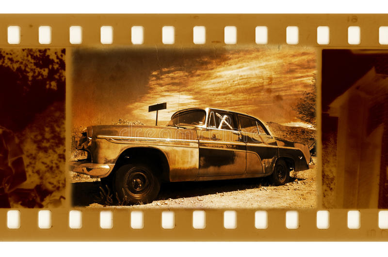 Foto velha do frame com carro retro fotografia de stock