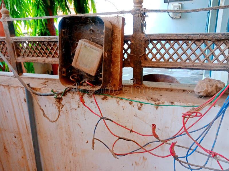 Foto velha indiana do estoque do medidor da eletricidade foto de stock royalty free