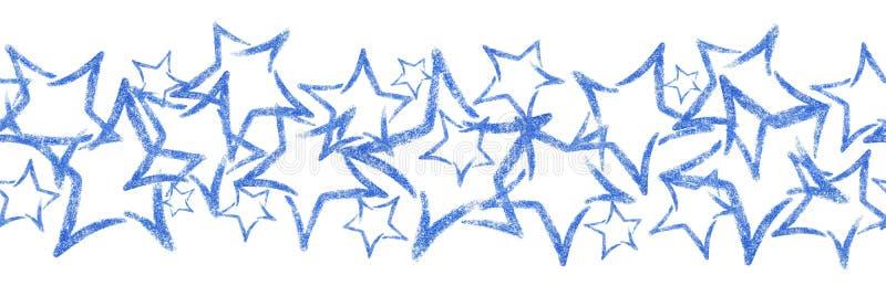 Foto verspreide lovertjes van een ster De naadloze grens met blauw schittert ster stock fotografie