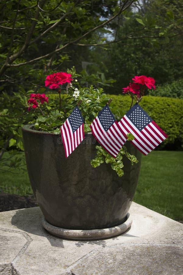 Foto vertical de pequeñas banderas en maceta fotografía de archivo