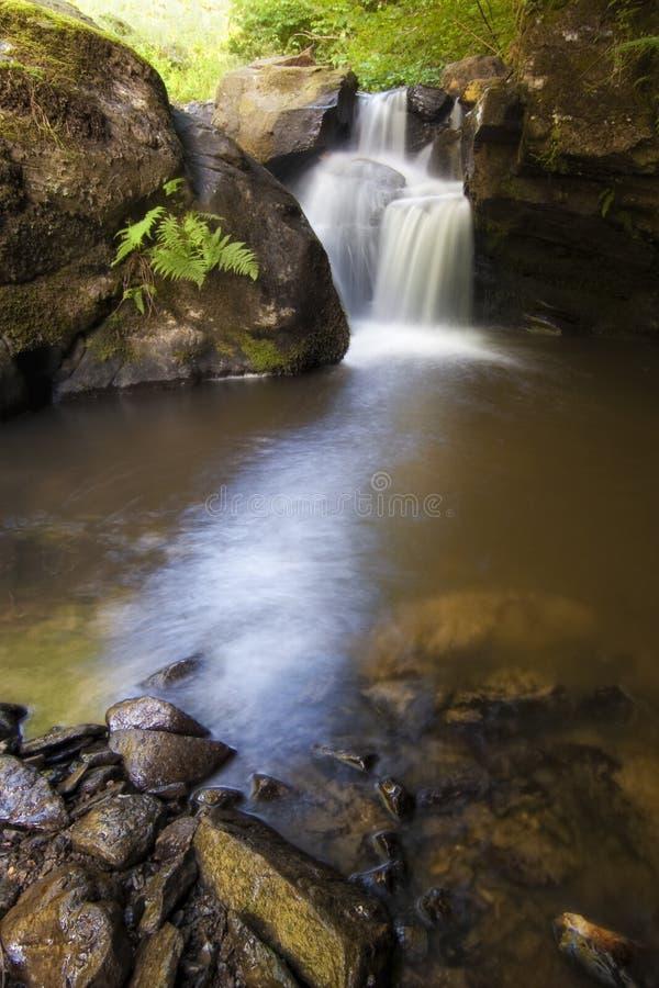 Foto vertical de una cascada hermosa en un río de la montaña imagen de archivo