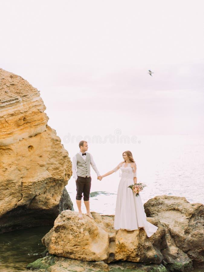 Foto verticale della mano della tenuta delle coppie della persona appena sposata sulla scogliera ai precedenti del mare fotografia stock