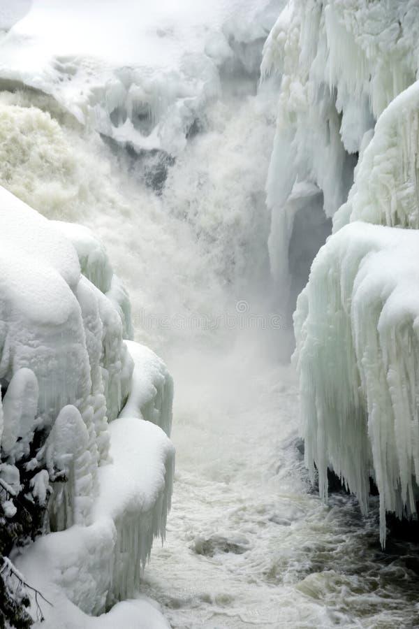 Foto verticale di piccole cascate che precipitano a cascata nel fiume stretto con le banche coperte in neve e ghiacciolo fotografia stock libera da diritti