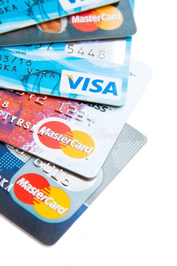 Foto vicina delle carte di credito immagini stock libere da diritti