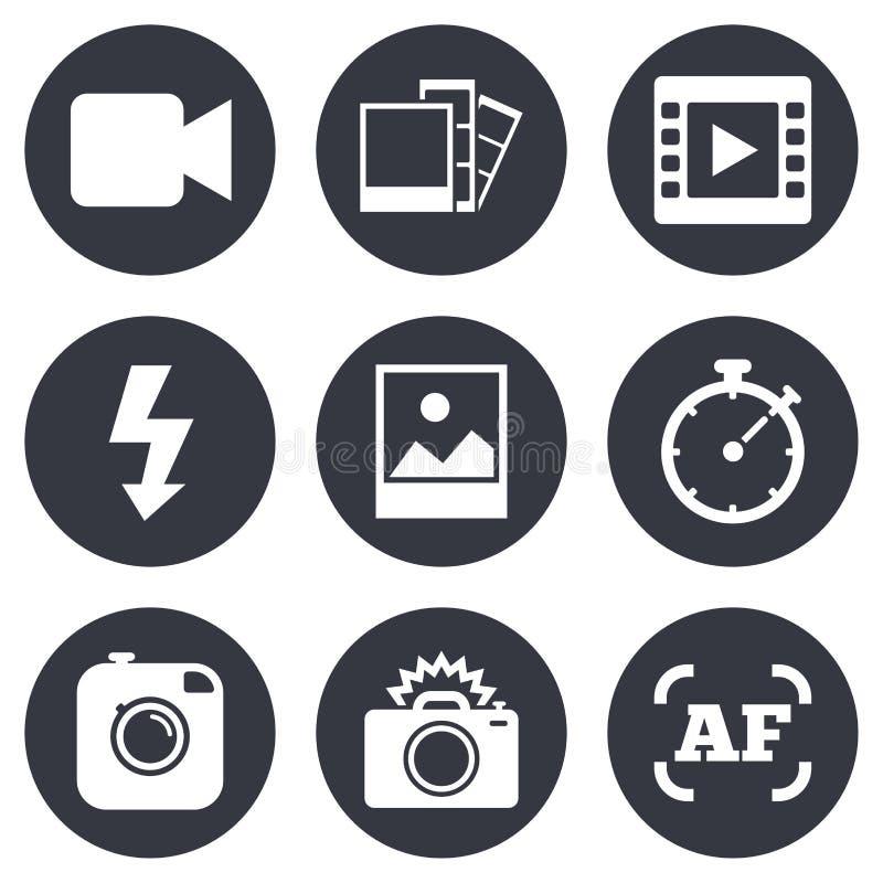 Foto videopp symboler Kamera, foto och ram vektor illustrationer