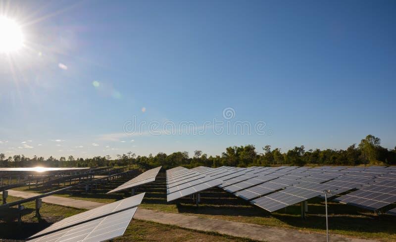 Foto-voltaische Solarenergie täfelt Bauernhof lizenzfreie stockbilder