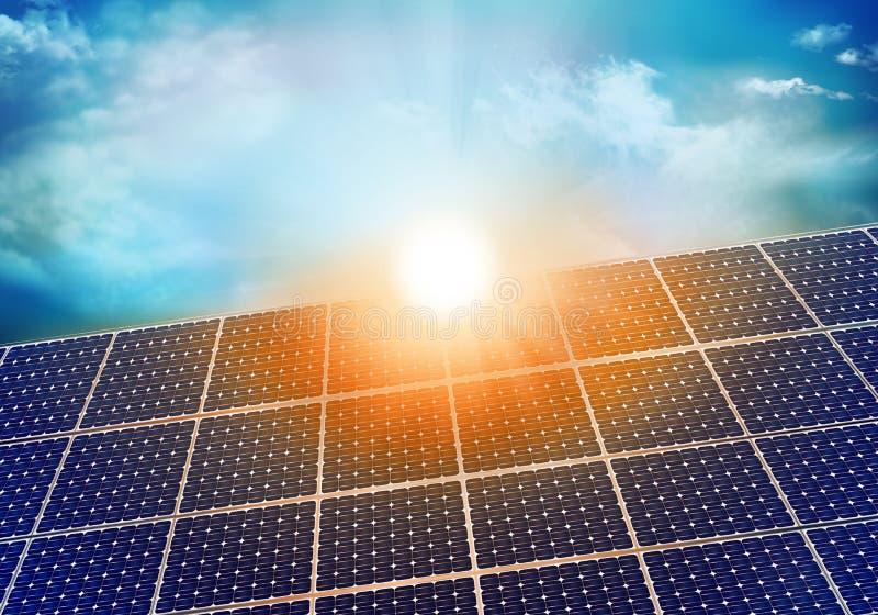 Foto-voltaische Solarplatte mit Sonnenreflexion bei Sonnenuntergang Hintergrund mit Himmel und Wolken Abbildung 3D stock abbildung