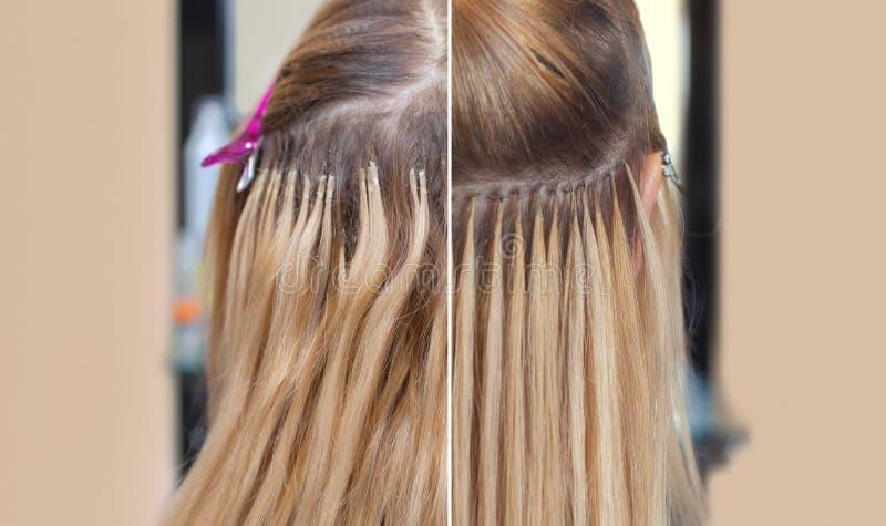 Foto vor und nach Haarerweiterungen zu einem jungen Mädchen, eine Blondine in einem Schönheitssalon lizenzfreie stockfotos
