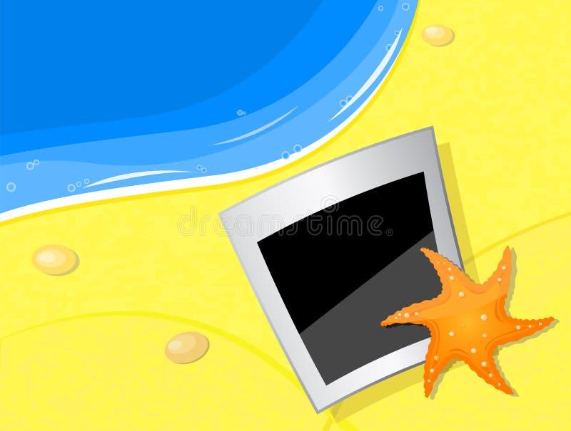 Foto y fishstar en la costa de la playa ilustración del vector