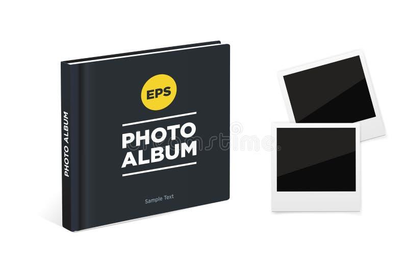 Fotoalbumbuch mit schwarzen Abdeckungs- und Weinlesefotorahmen Vektormodell vektor abbildung