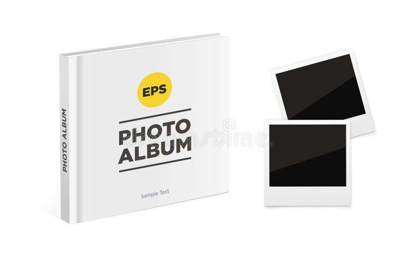 Fotoalbumbuch mit weißen Abdeckungs- und Weinlesefotorahmen Vektormodell stock abbildung