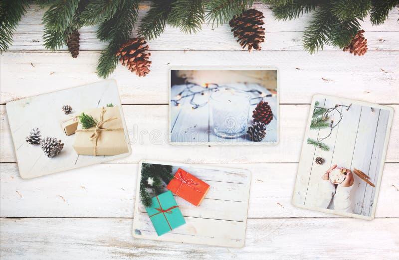 Fotoalbumet i minne och nostalgi i jul övervintrar säsong på den wood tabellen arkivbild