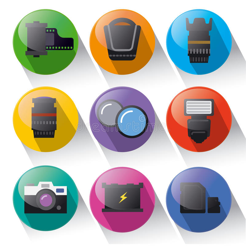 Fotoausrüstungs-Ikonensatz stock abbildung