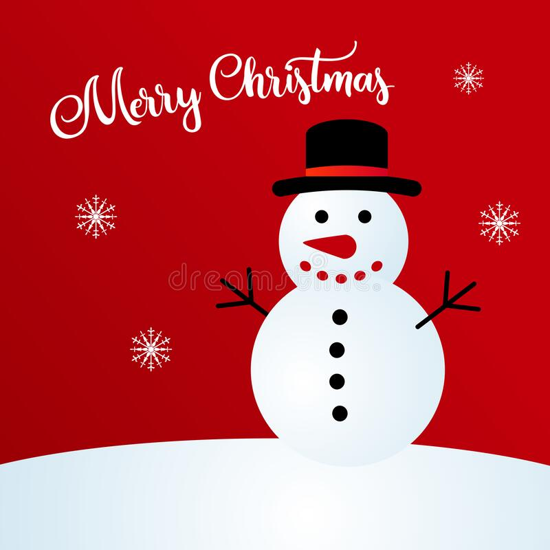Merry Christmas greeting card with snowman. Merry christmas to all of you. There§s no better way than to use mr. snowman to do the job royalty free illustration