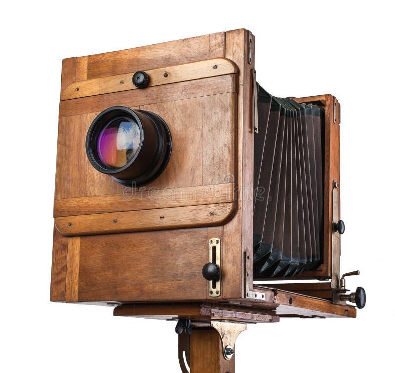 Fotocamera grande formato di legno d'annata immagine stock