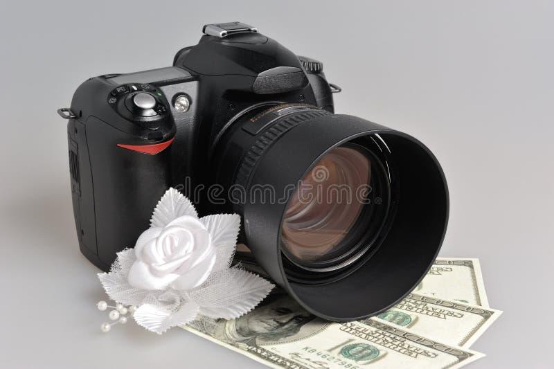Fotocamera, huwelijk boutonniere met geld op grijs stock fotografie