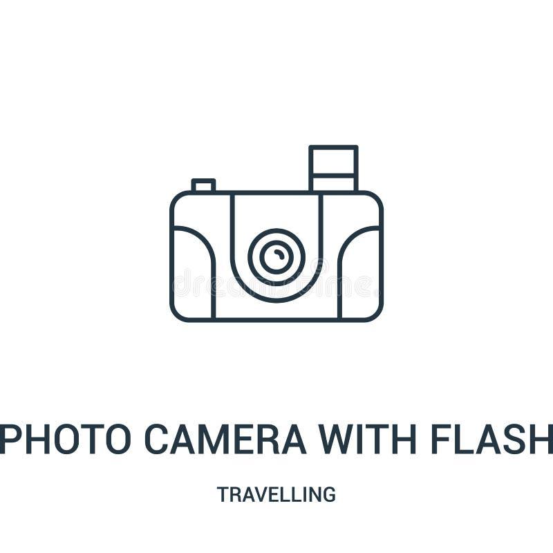 fotocamera met de vector van het flitspictogram van reizende inzameling De dunne camera van de lijnfoto met het pictogram vectori royalty-vrije illustratie