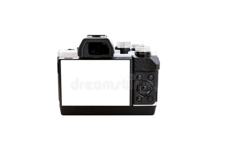 Fotocamera met het witte scherm op geïsoleerd wit stock afbeeldingen