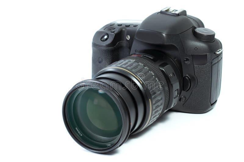 Fotocamera op een witte achtergrond wordt geïsoleerd die royalty-vrije stock afbeeldingen