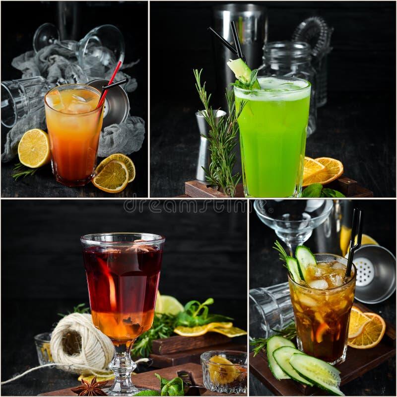 Fotocollage Alkoholiker färbte Cocktails und Getränke stockbild