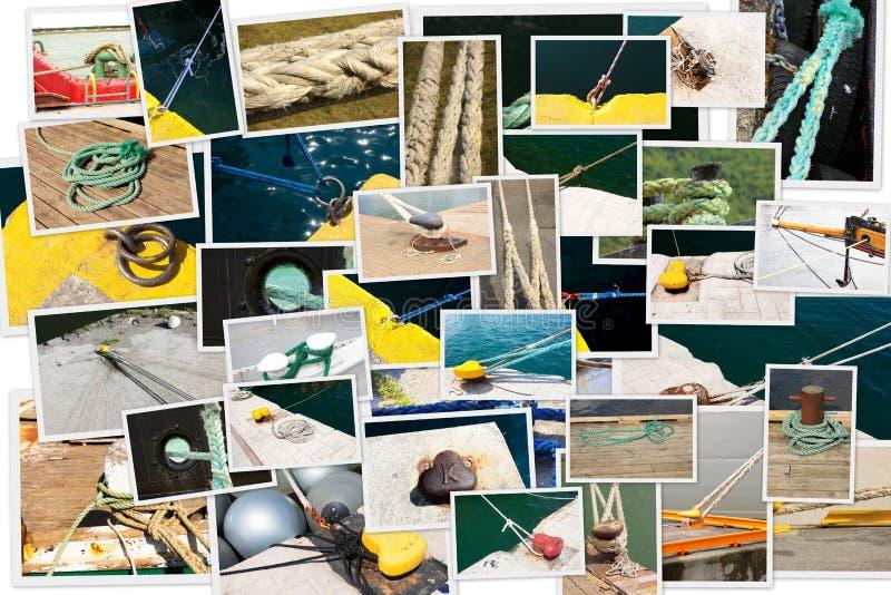 Fotocollage av att förtöja av fartyg royaltyfria foton